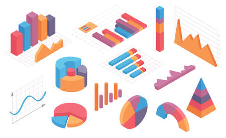 Isometric infographic charts. Graph, circle diagram, pie chart and columns with timeline. Business statistic and analytic element vector set Illusztráció