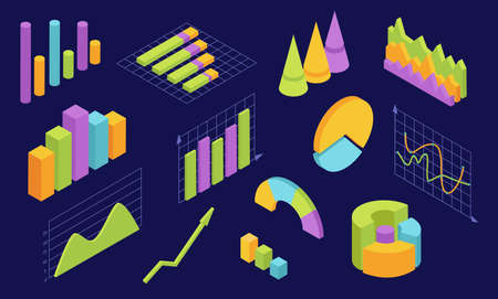 Isometric graphs. Statistic charts for business. 3d infographic diagram and graphic wave. Economy analysis web interface elements vector set