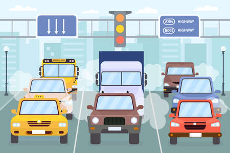 Traffic jam. Cars on city road with smoke, smog and exhaust gas. Vehicle, taxi, truck and bus on urban highway. Air pollution vector concept