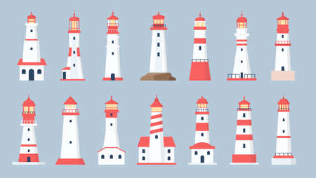 Lighthouse towers. Cartoon sea beacon design. Coastline marine navigation house with beaming searchlight signal. Flat lighthouses vector set Иллюстрация