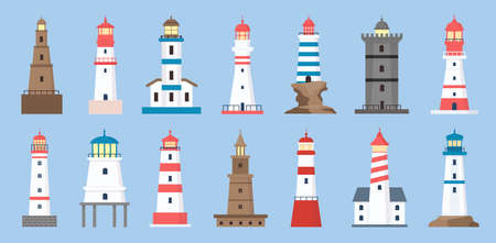 Sea beacons. Coast lighthouse with searchlight beam. Cartoon navigation tower for sailing ship. Marine lighthouses on ocean shore vector set