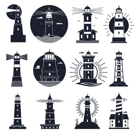 Lighthouses logo. Nautical vintage label, sea beacons, ocean with waves and seagulls. Night lighthouse tower, navigation building vector set Illusztráció