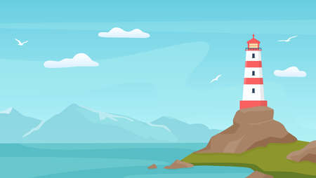Sea landscape with beacon. Lighthouse tower on coast with rock. Cartoon blue sky with seagulls, shore, ocean waves and mountain vector scene Иллюстрация