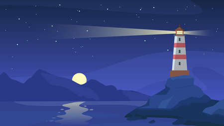 Lighthouse at night. Sea beacon with beam on rocky coast. Cartoon navigation light tower on seashore, starry sky and ocean vector landscape