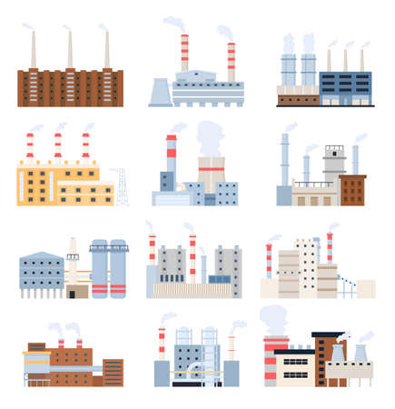 Manufacturing factory. Industrial building, electricity station, nuclear power plant and chemical complex with chimney. Factories vector set Illusztráció