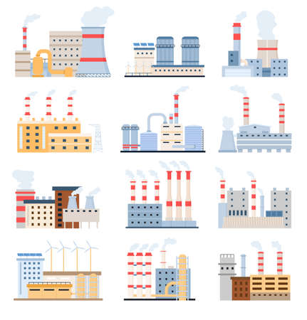 Factory buildings. Eco power plants with solar panels and windmill, chemical manufacturing and industrial complex. Flat factories vector set Illusztráció