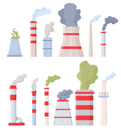 Factory chimney with smoke. Manufacturing pipes with toxic chemical fumes, environment and air pollution. Stack with dirty steam vector set