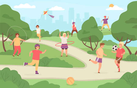 Kids sport outdoor. Children play in park playground. Girl with kite, boy playing football and baseball. Flat summer activity vector concept Illusztráció