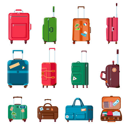 Travel suitcases. Backpacks, bags, plastic or metal open suitcase with wheels. Cartoon tourist baggage with sticker. Hand luggage vector set Illusztráció