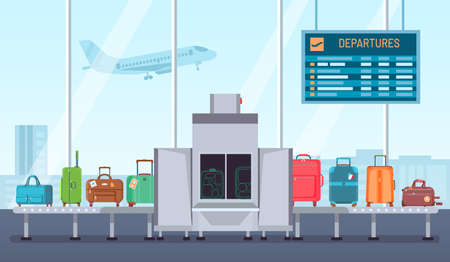Airport baggage scanner. Conveyor belt with luggage and inspection control terminal. Security check for bags and suitcases vector concept Illusztráció