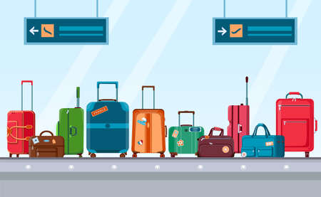 Airport conveyor belt with luggage. Carousel system with travel suitcases and bags with stickers. Cartoon baggage claim area vector concept