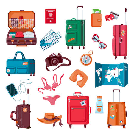 Travel stuff. Cartoon luggage, clothes, map, camera, passport and airplane tickets. Packed suitcase. Summer vacation accessories vector set