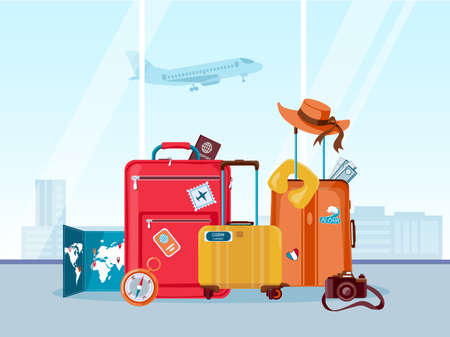 Tourist travel suitcases. Luggage and bags with map, camera and summer hat in airport. Tourism agency, adventure and vacation vector concept
