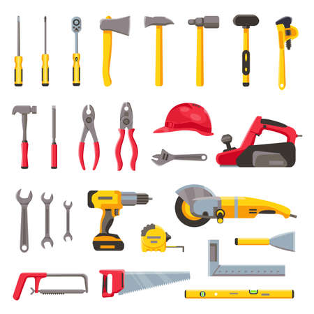 Building tools. Construction hardware, screwdriver, hammer, saw and drill, builder helmet and electric equipment. Repair toolkit vector set Иллюстрация