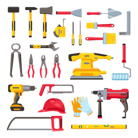 Construction toolkit. Home renovation and repair tools, spanner, trowel, electric drill and screwdriver. Woodwork equipment flat vector set