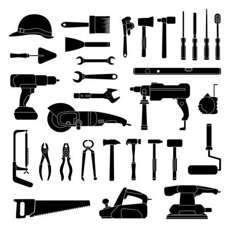 Working hand tools silhouette. Construction and home repair toolkit logo icons. Workshop hardware, drill, hammer, saw and wrench, vector set