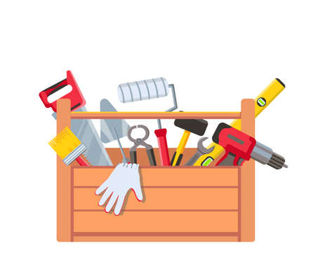 Toolbox with equipment. Wooden toolkit box with saw, drill, brush trowel and building level. House repair tools. Maintenance vector concept Illusztráció