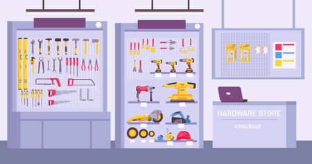 Hardware store interior. Shop with counter, shelves with assortment, instruments for home repair. Construction tools offer vector concept Illusztráció