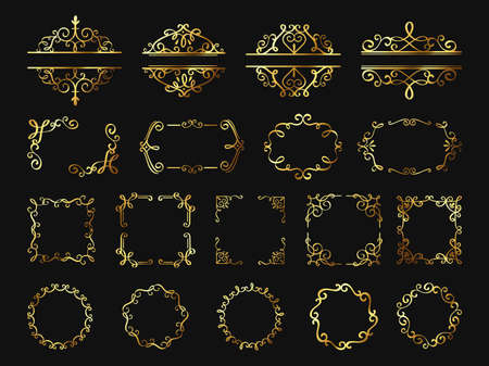 Retro golden frames. Vintage gold borders and corners, classic ornament element. Photo frame, cover, wedding or certificate decor vector set Vetores