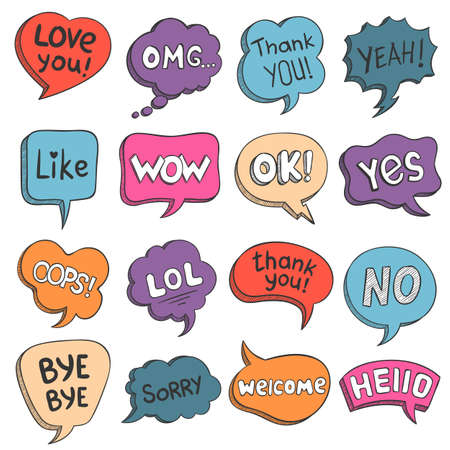 Speech bubbles. Colorful doodle comic balloons with talk phrases thank you, love, like, hello and omg. Cartoon message text cloud vector set