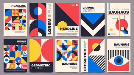 Geometric posters. Bauhaus cover templates with abstract geometry. Retro architecture minimal shapes, forms, lines and eye design vector set Vector Illustration