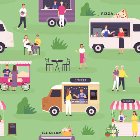 Food truck seamless pattern. Summer street festival and people buy fast food, pizza and coffee in vans or carts. Outdoor market vector print Stock Illustratie