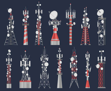 Antenna towers. Radio tower station for cell communication with wireless signal. Telecom network construction for mobile internet vector set Stock Illustratie