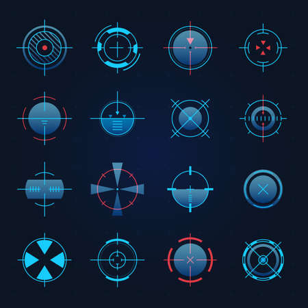 Futuristic aim. Spaceship or sniper weapon focus on target for game hud. Digital hologram crosshair, radar or camera viewfinder vector set