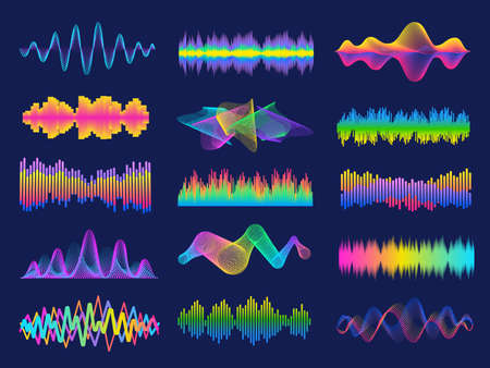 Audio frequency. Neon music sound waves for radio equalizer. Voice recognition for digital assistant. Volume graph line designs vector set