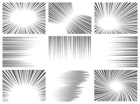 Comic line effect. Radial and horizontal speed motion texture for manga and anime. Explosion, flash and fast action lines vector graphic set