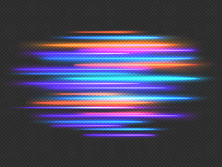 Speed lights effect. Neon fast movement dynamic horizontal lines. Futuristic race, night light motion blur. Speedy stripes vector background Stock Illustratie