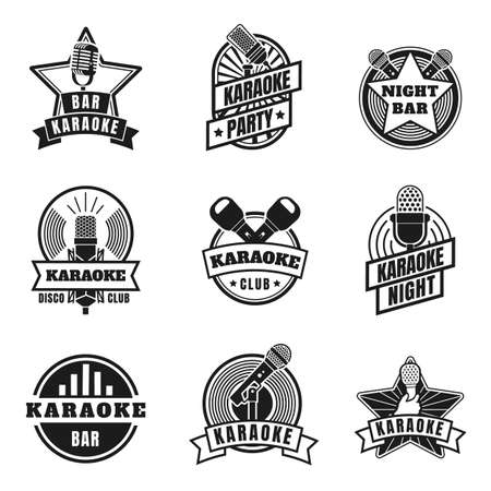 Karaoke emblems. Vintage labels with microphones for music karaoke night party. Retro silhouette singing club badges, mics logo vector set