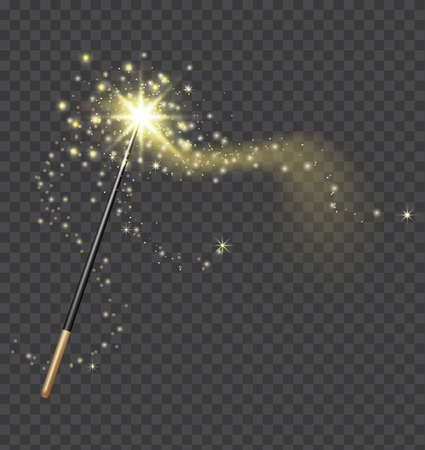 Magic wand. Realistic fairytale stick with golden sparkle trail. Fantasy glitter and shine star. Fairy wand and magical light vector concept