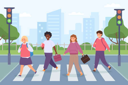 Kids crossing road. Group of student on street crosswalk with traffic light. Children cross pedestrian zebra on way to school vector concept