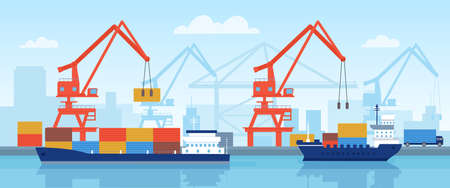 Cargo ship in port. Delivery maritime transport with containers loading in harbour with crane. Flat logistic or import by sea vector concept Stock Illustratie