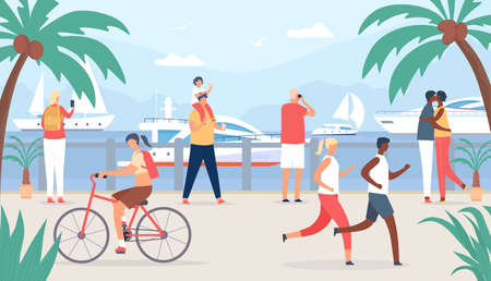 People walk on sea quay. Family and couple tourist at vacation look at sail boats. Seaside summer travel in tropic shore flat vector concept Stock Illustratie