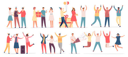 People celebrate birthday. Friend characters dance on party, sing karaoke, hold cake and gift, drink champagne. Flat celebrating vector set. Stock Illustratie