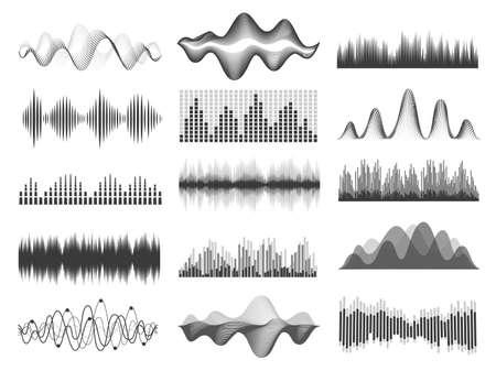Sound waves. Graphic music soundwave frequency. Pulse lines, radio equalizer, voice record or impulse wave. Audio player chart vector set