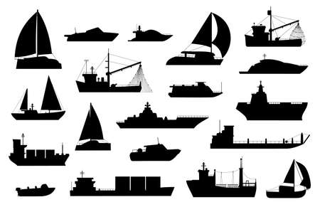 Boats silhouette. Sailboat, barge, fishing and cruise ship, sea yacht, passenger and cargo vessel icons. Nautical transport logo vector set Stock Illustratie