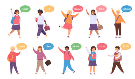 International kids say hello. Diversity school children with speech bubble on english, spanish, chinese and french. Multicultural vector set