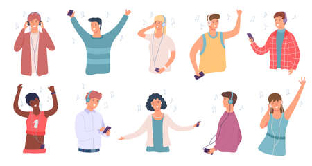 People listen music. Happy man and woman in headphone dancing. Student enjoying songs on phone. Teenage character listening audio vector set
