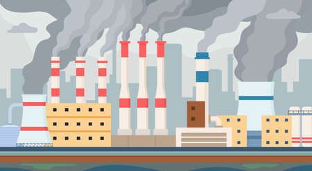 Dirty factory. Air and water polluted by industrial smog. Factories chimney with toxic smoke pollute environment. Pollution vector concept