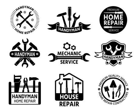 Handyman Mechanic and home repair service with construction and handy tools, wrench and hammer. Builder company stamp vector set