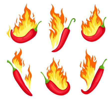 Chili on fire. Cartoon hot red peppers with flames. Spicy food icon, emblem for mexican sauce or restaurant. Chilli pepper label vector set Stock Illustratie