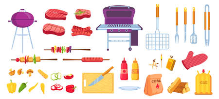 Cartoon grill and barbecue. Grilled food meat, sausages and vegetables. Cooking tools, grid, knife and skewer. Bbq picnic party vector set Stock Illustratie