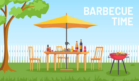 Bbq in garden. Cartoon summer outdoor backyard barbecue party with furniture, umbrella, food on grill. Home picnic in patio vector landscape Stock Illustratie