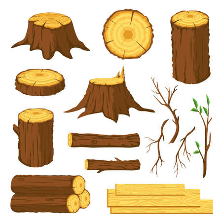 Wood logs. Firewood, tree stumps with rings, trunks, branches and twigs. Lumber industry forest materials. Wooden planks, timber vector set
