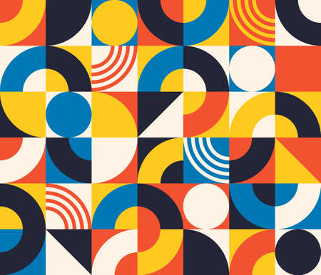 Bauhaus seamless pattern. Abstract square tiles with circle and triangle. Retro print in minimal style with geometric figure, vector texture 向量圖像