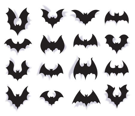 Paper bats. Halloween symbol of creepy flying animal with wings. 3d vampire party decoration. Scary bat horror black silhouettes vector set 向量圖像