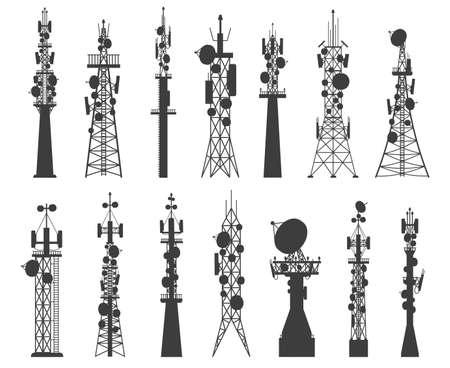 Radio tower silhouette. Satellite communication antenna. Telecom network cellular broadcast equipment. Wireless technology masts vector set